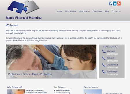 Financial Website Design Maple Financial Planning