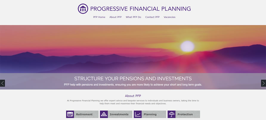 Progressive Financial - one of our beautiful IFA websites that we develop for financial services firms in the UK