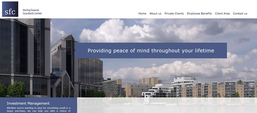 Sterling Financial - one of our IFA websites from our client based in London Docklands